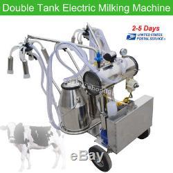 110V Double Tank Milker Electric Vacuum Pump Milking Machine For Farm CowsUS