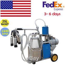 110V+ US Plug Electric Milking Machine For farm Cows Bucket Piston Vacuum Pump