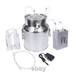14L Cow Goat Sheep Milker Electric Milking Machine Stainless Steel Bucket Double