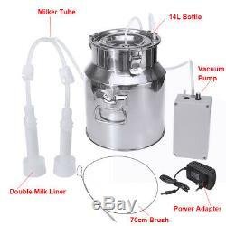14L Dual Head Electric Milking Machine Vacuum Pump Stainless Steel Cow Milker