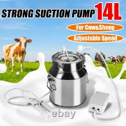 14L Electric Milking Machine Vacuum Pump Stainless Steel Cow Dairy Cattle #