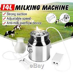 14L Electric Milking Machine Vacuum Pump Stainless Steel Cow Dairy Cattle Milker