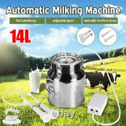 14L Electric Milking Machine Vacuum Pump Stainless Steel Cow Dairy Cattle d