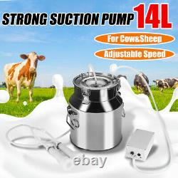 14L Electric Milking Machine Vacuum Pump Stainless Steel Cow / Goat Milker &