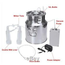 14L Electric Milking Machine Vacuum impulse Pump Stainless Steel CowithGoat New