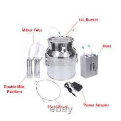 14L Portable Electric Milking Machine Vacuum Pump Milker For Sheep Goat Farm Cow