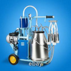 25L Automatic Electric Milking Milker Machine Farm Cows Goat Bucket Vacuum Pump