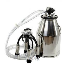 25L Cow Milker Portable Milking Machine Barrel 304 Stainless Steel Bucket US