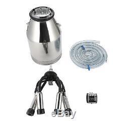 25L Dairy Cow Milker Milking Machine Bucket Tank Barrel Stainless Steel