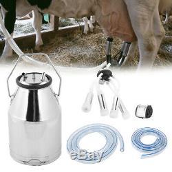 25L Dairy Cow Milker Milking Machine Bucket Tank Barrel Stainless Steel Portable