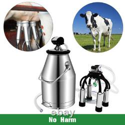 25L Dual Heads Electric Cow Milking Machine Vacuum Impulse Pump stainless steel