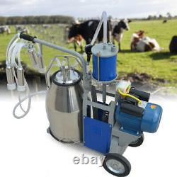 25L Electric Milker Milking Machine For Goats Cows With Bucket 2 Plug 12 Cows/hour