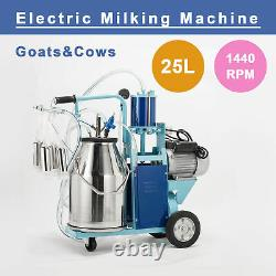 25L Electric Milking Machine F Goats Cows WithBucket Sheep Piston 1440RPMVacuum