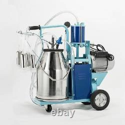 25L Electric Milking Machine Fits Goats Cows WithBucket 2 Plug 12Cows/hour Milker