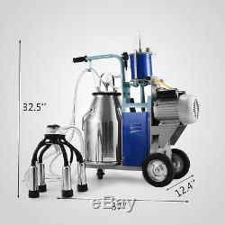 25L Electric Milking Machine For Goats Cows WithBucket 304 Stainless Steel 1440RPM