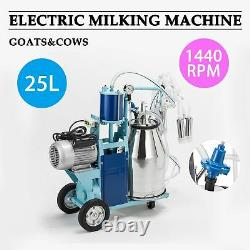 25L Electric Milking Machine For Goats Cows WithBucket 550W 2 Plug 1440RPM GOOD os