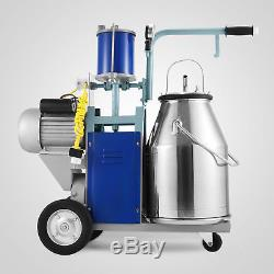 25L Electric Milking Machine For Goats Cows WithBucket 550W Milker 2 Plug Vacuum