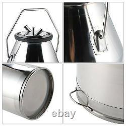 25L Portable Dairy Cow Bucket Tank Barrel Milker Stainless Steel Milking Machine