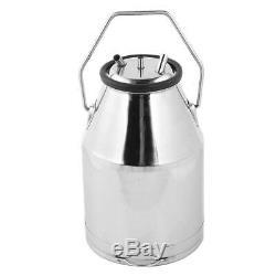 25L Portable Dairy Cow Milker Milking Machine Bucket Tank Barrel Stainless Steel