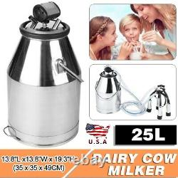 25L Portable Milking Machine Farm Dairy Sheep Goat Cow Milker Bucket Tank Barrel