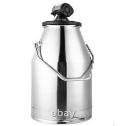 25L Stainless Steel Dairy Cow Milker Goat Milking Machine Bucket Tank Barrel USA