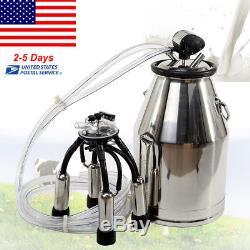 25L Stainless Steel Portable Cow Milker Bucket Tank Milking Machine Cow US STOCK
