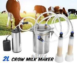 2L Durable Electric Cow Milking Machine 75Kpa Vacuum Pump Milker Double Head