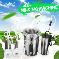 2L Electric Milking Machine Cow Goat Milker Stainless Steel Tank Upgrade