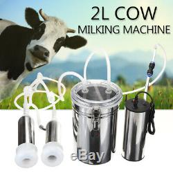 2L Electric Milking Machine Cow Goat Milker Stainless Steel Tank Upgraded 2-Head