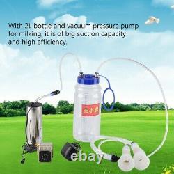 2L Electric Milking Machine Cow Sheep Goat Milker Impulse Pump Bucket US Plug