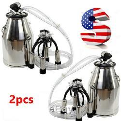 2PCS 25L Cow Milker Bucket Tank Milking Machine 304 Stainless Steel Farm -USA