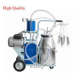2Plug Electric Milking Machine For farm Cows Bucket 25L 304 Stainless Steel New