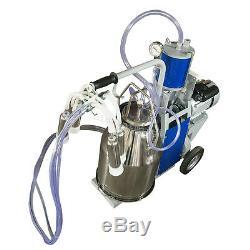 2X US Dairy Milker Vacuum Pump Electric Milking Machine 25L Bucket for Farm Cows