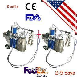 2X US seller Milker Electric Vacuum Pump Milking Machine 25L Bucket Farm Cows CE