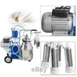 550W Electric Milking Machine Milker For Farm Cows 25L Bucket Cattle Dairy CA