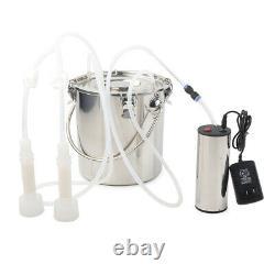 5L 24W Portable Electric Milking Machine Vacuum Impulse Pump Fit Cow Goat Milker