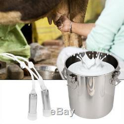 5L Cattle Milker Electric Milking Machine Farm Cow Impulse Pump Buckets