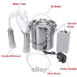 5L Dual Head Farm Milking Machine Cow Goat Sheep Milker Vacuum Pump Barrels