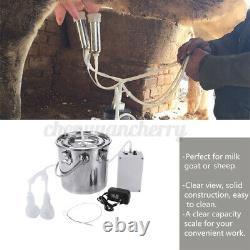 5L Dual Head Milking Machine Farm Cow Milker Impulse Type Vacuum Pump
