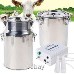 5L Dual Head Sheep Goat Cow Milking Tool Vacuum Impulse Pump Milker Stainless