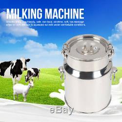 5L Dual Heads Electric Milking Machine Stainless Steel Vacuum Pump Cow Milker