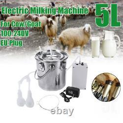 5L Dual Heads Electric Milking Machine Vacuum Impulse Pump CowithGoat Milke U