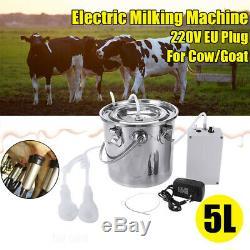 5L Dual Heads Electric Milking Machine Vacuum Impulse Pump CowithGoat Milker