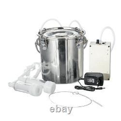 5L Electric Dual Head Farm Milking Machine Cow Goat Sheep Milker Portable Barrel