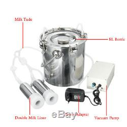 5L Electric Milking Machine Dual Head Farm Cow Goat Milker with Vacuum Pump a