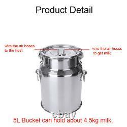 5L Electric Milking Machine Vacuum Impulse Pump Stainless Steel Cow Go U