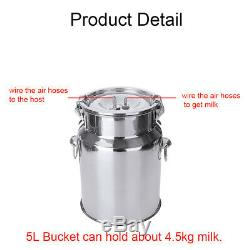 5L Electric Milking Machine Vacuum Impulse Pump Stainless Steel Cow Goa