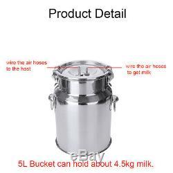 5L Electric Milking Machine Vacuum Impulse Pump Stainless Steel Cow Goat