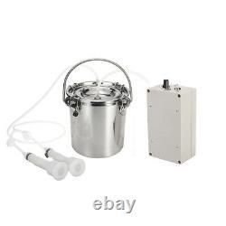 5L Electric Milking Machine Vacuum Impulse Pump Stainless Steel Cow Milker CN