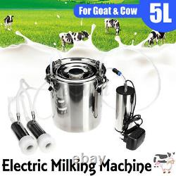 5L Electric Milking Machine Vacuum Impulse Pump Stainless Steel CowithGoat